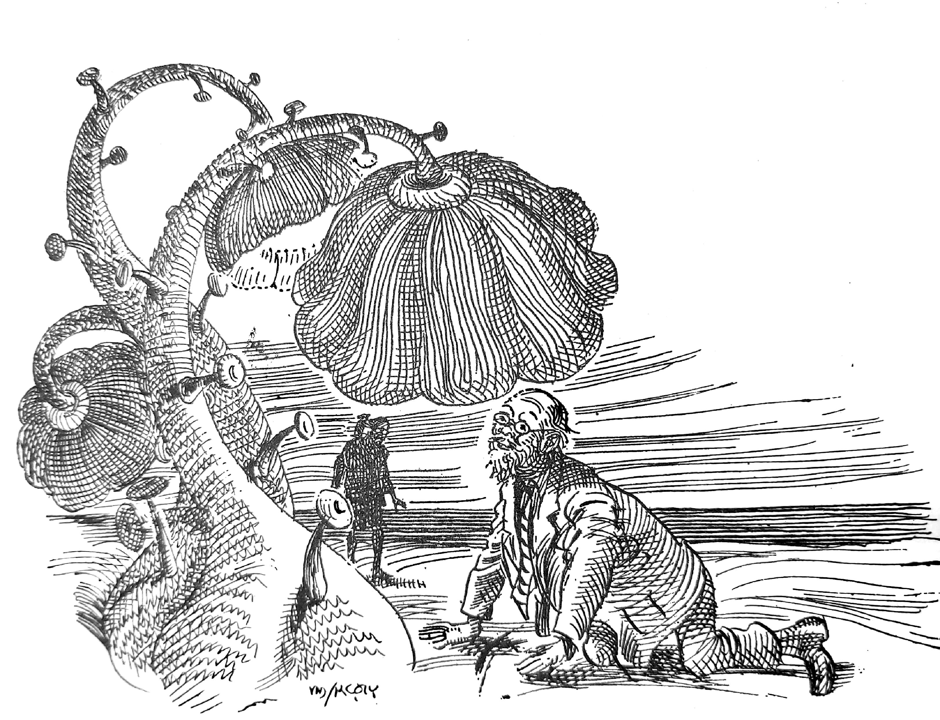 "A sketch of Professor Shonku by Satyajit Ray from the story ""Swapnadeep""."