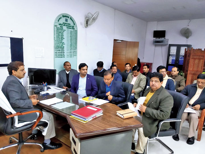 Ajoy Kumar Singh (left) reviews urban infrastructure at Ranchi on Thursday.