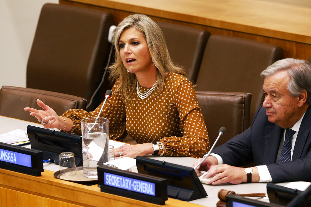 File photo of Queen Maxima of the Netherlands, joined by United Nations Secretary-General Antonio Guterres as she delivers remarks at a side event regarding financial inclusion for development during the 74th session of the U.N. General Assembly