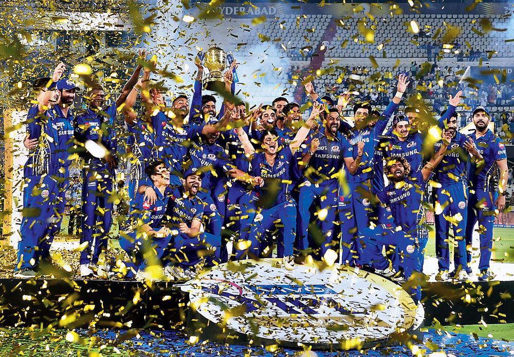 Mumbai Indians celebrate after winning the Indian Premier League 2019 at Rajiv Gandhi International Cricket Stadium in Hyderabad on Monday, May 13, 2019