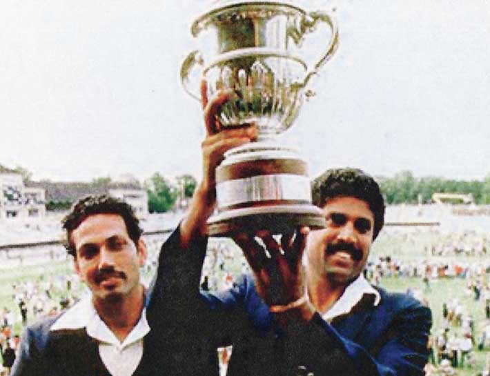 1983 Cricket World Cup: Kapil Dev receiving the Prudential World Cup trophy.