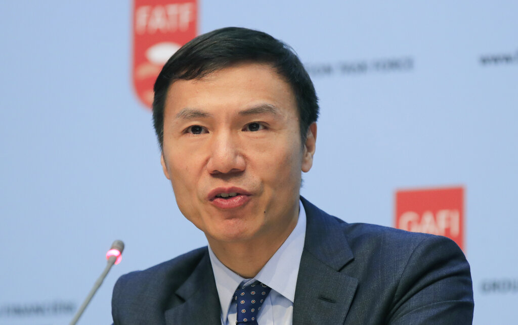 Financial Action Task Force (FATF) President Xiangmin Liu speaks during a media conference at the OECD headquarters in Paris, Friday, Oct. 18, 2019.