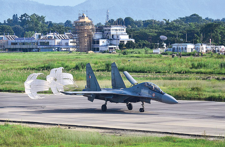 A Sukhoi-30 fighter jet lands at Dimapur airport during the exercise on Wednesday