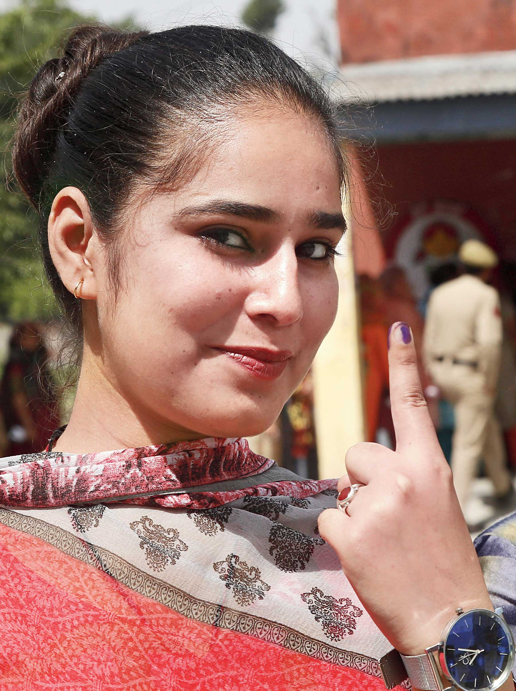 A first-time voter at Nagrota in Jammu on Thursday.
