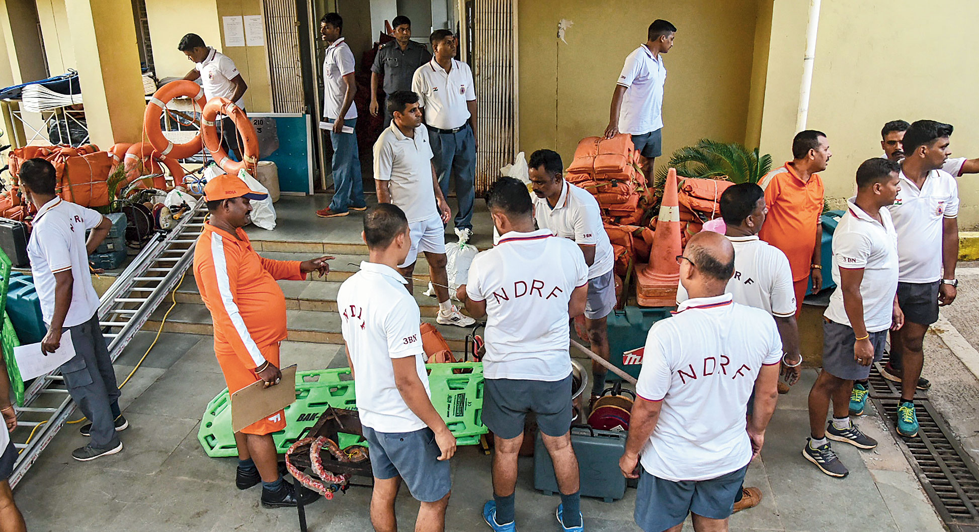 NDRF personnel busy readying rescue equipment in Bhubaneswar, days before Cyclone Fani hit Odisha.