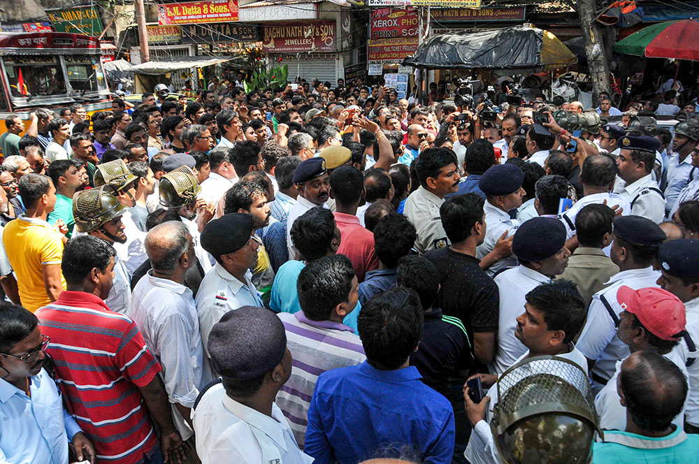 Residents of Bowbazar area demand assurance from the authorities to repair their buildings, in Calcutta on Monday, September 2, 2019.