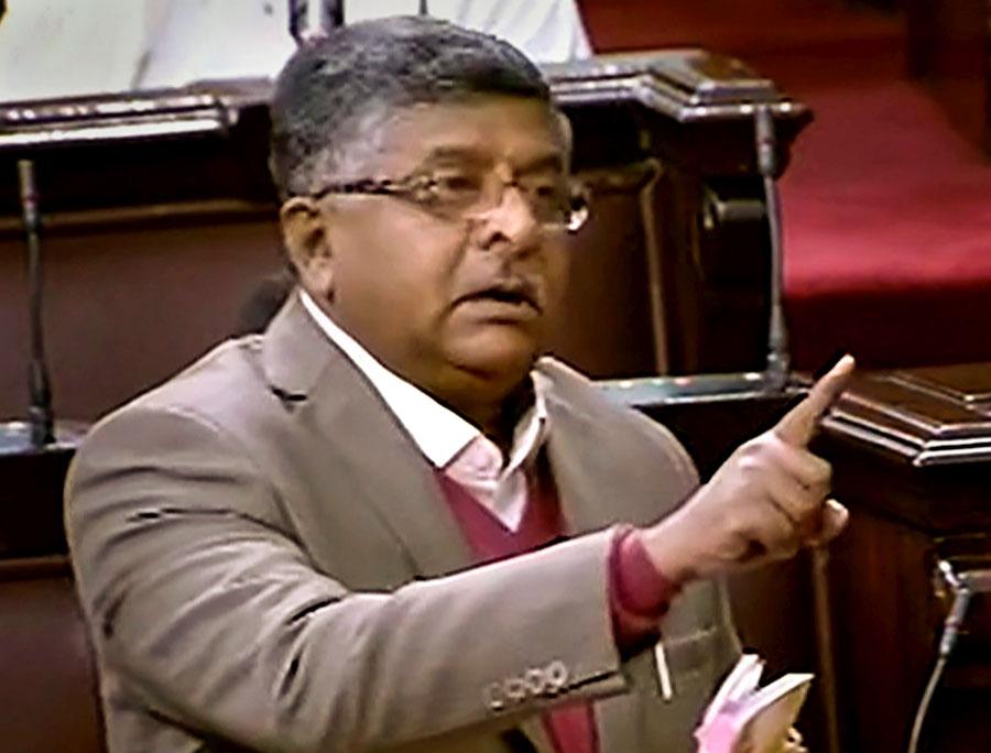 Union law minister Ravi Shankar Prasad speaks in the Rajya Sabha on Wednesday.