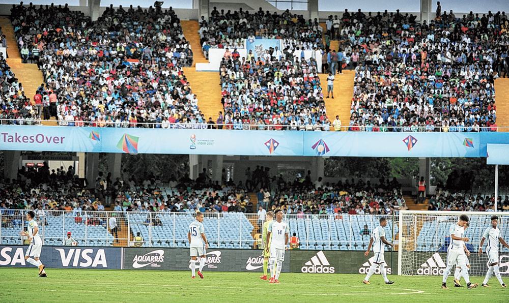 A file picture of a Fifa Under-17 World Cup match at Salt Lake stadium
