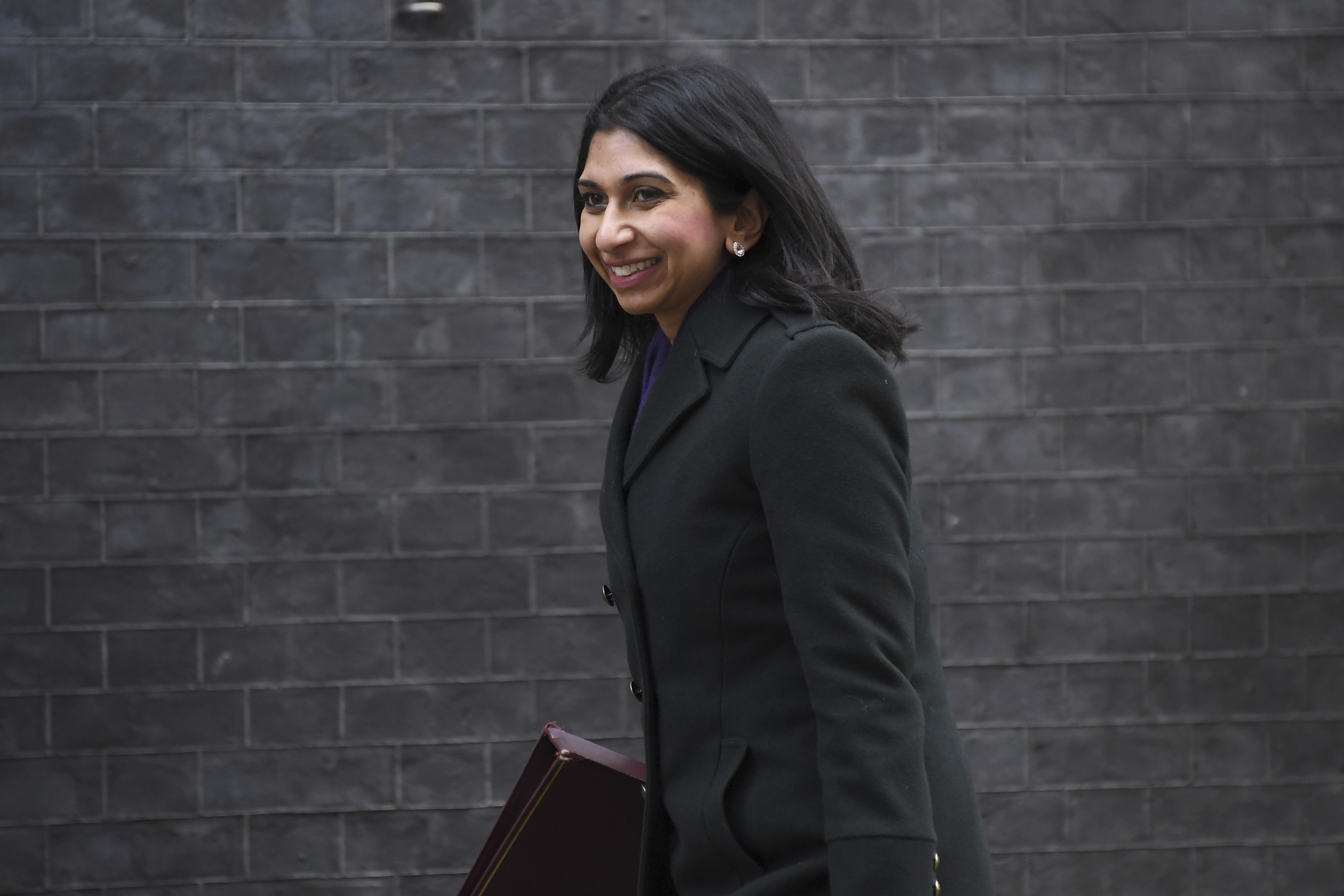 British lawmaker Suella Braverman, the Attorney General arrives for a Cabinet meeting at 10 Downing Street, in London on Friday