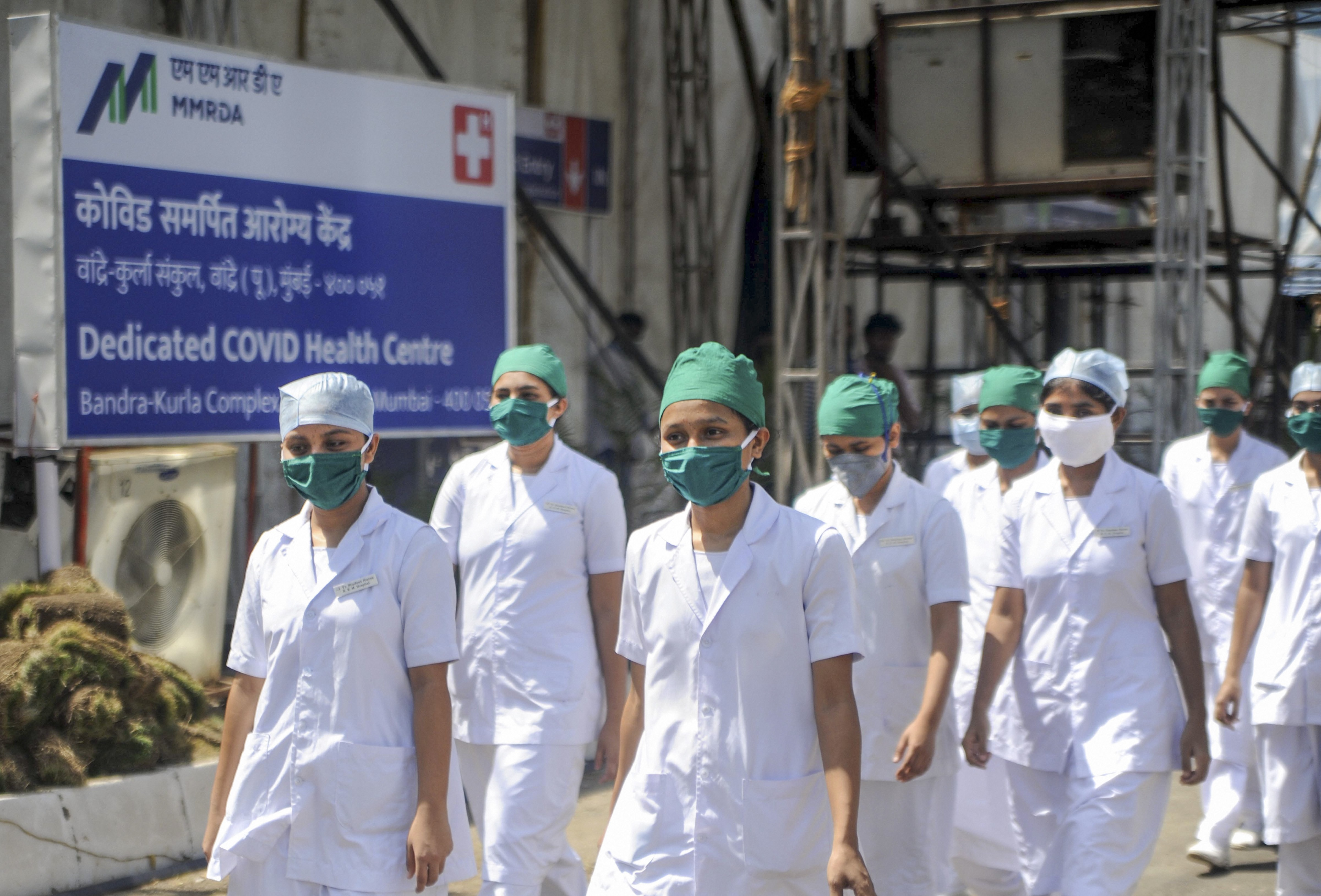 Medical staff at the new open-ground quarantine and isolation facility for semi-critical coronavirus patients, at BKC in Mumbai, Wednesday, May 20, 2020.