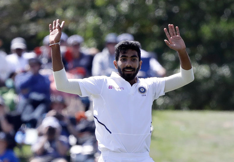 Jasprit Bumrah during play on day two of the second cricket test between New Zealand and India in Christchurch on Sunday