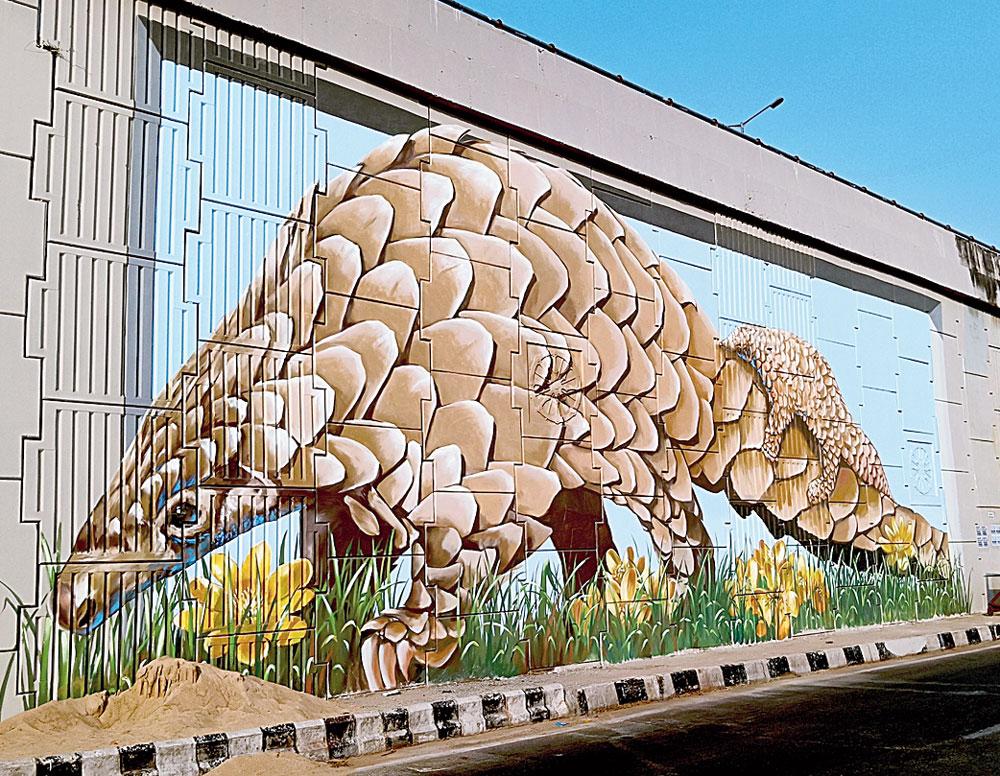 A 3D mural adorns a flyover wall in Bhubaneswar.
