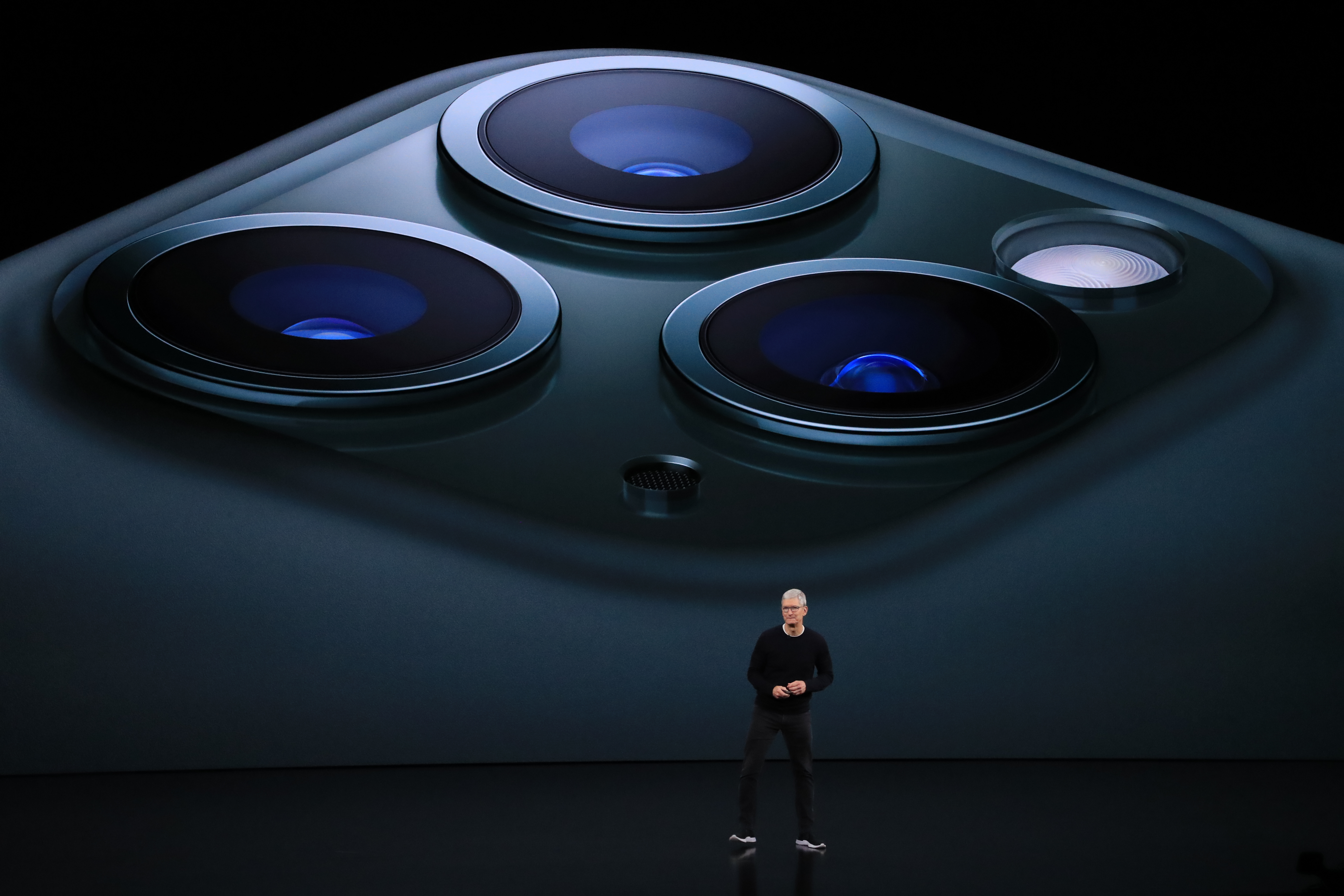 Chief executive Tim Cook discusses the iPhone 11 Pro in Cupertino on September 10.