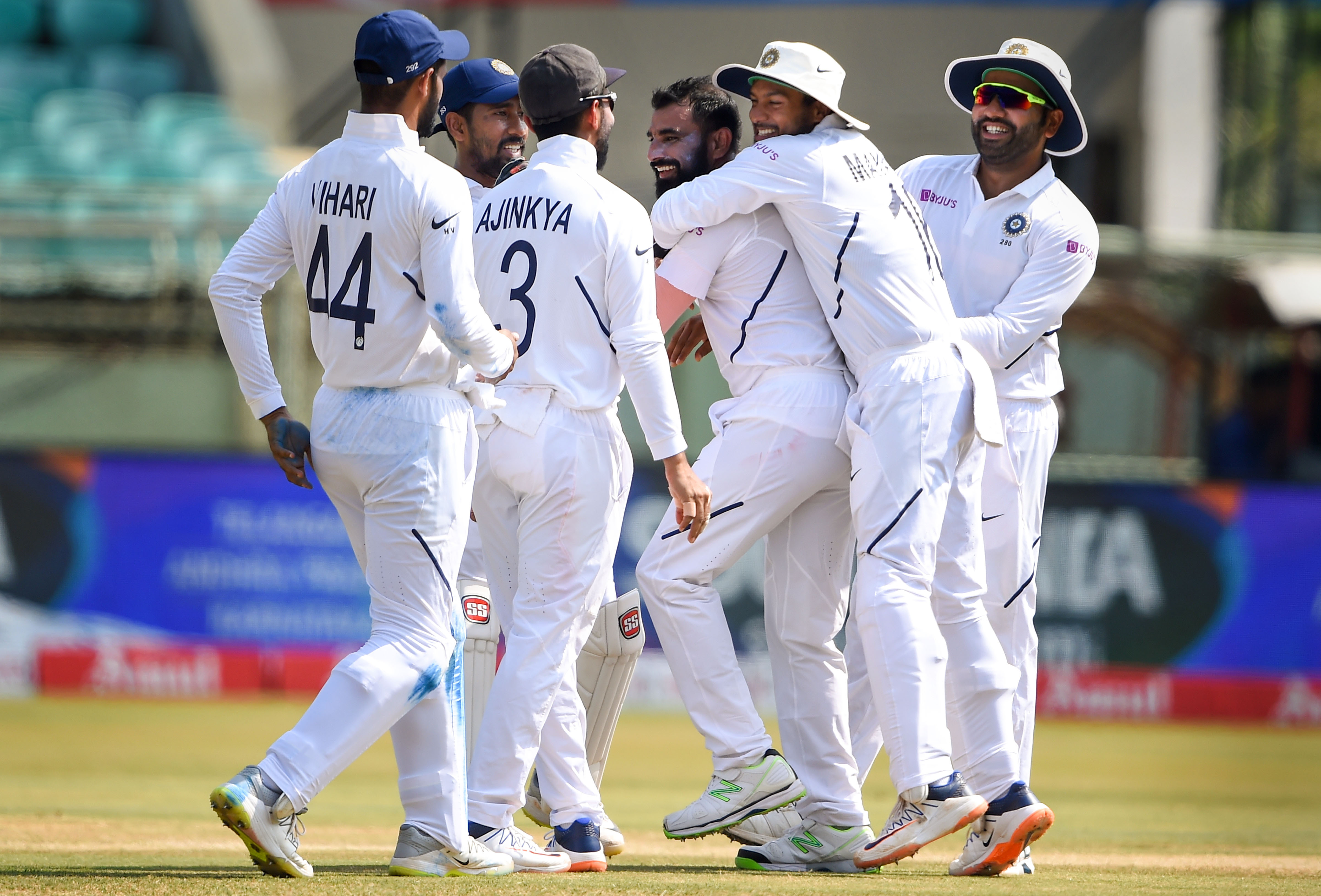 Mohammed Shami celebrates with teammates the dismissal of South African batsman Temba Bavuma on the final day of the first Test match between India and South Africa at Dr Y. S.  Rajasekhara Reddy ACA-VDCA Cricket Stadium, in Visakhapatnam, Sunday, October 6, 2019.