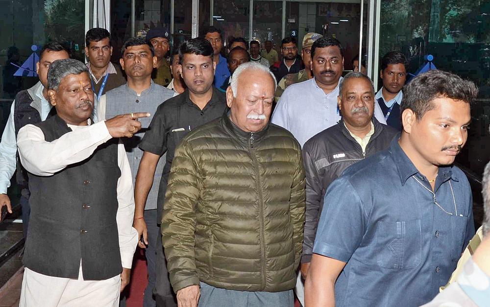 RSS chief Mohan Bhagwat at Birsa Munda Airport in Ranchi on Wednesday