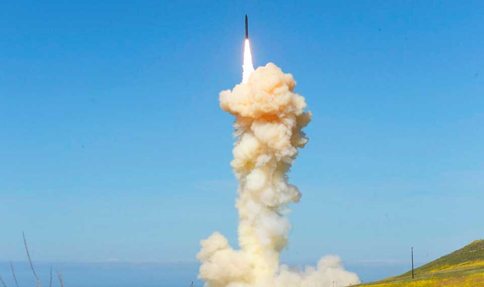The lead ground-based Interceptor is launched from Vandenberg Air Force Base, Calif., in a
