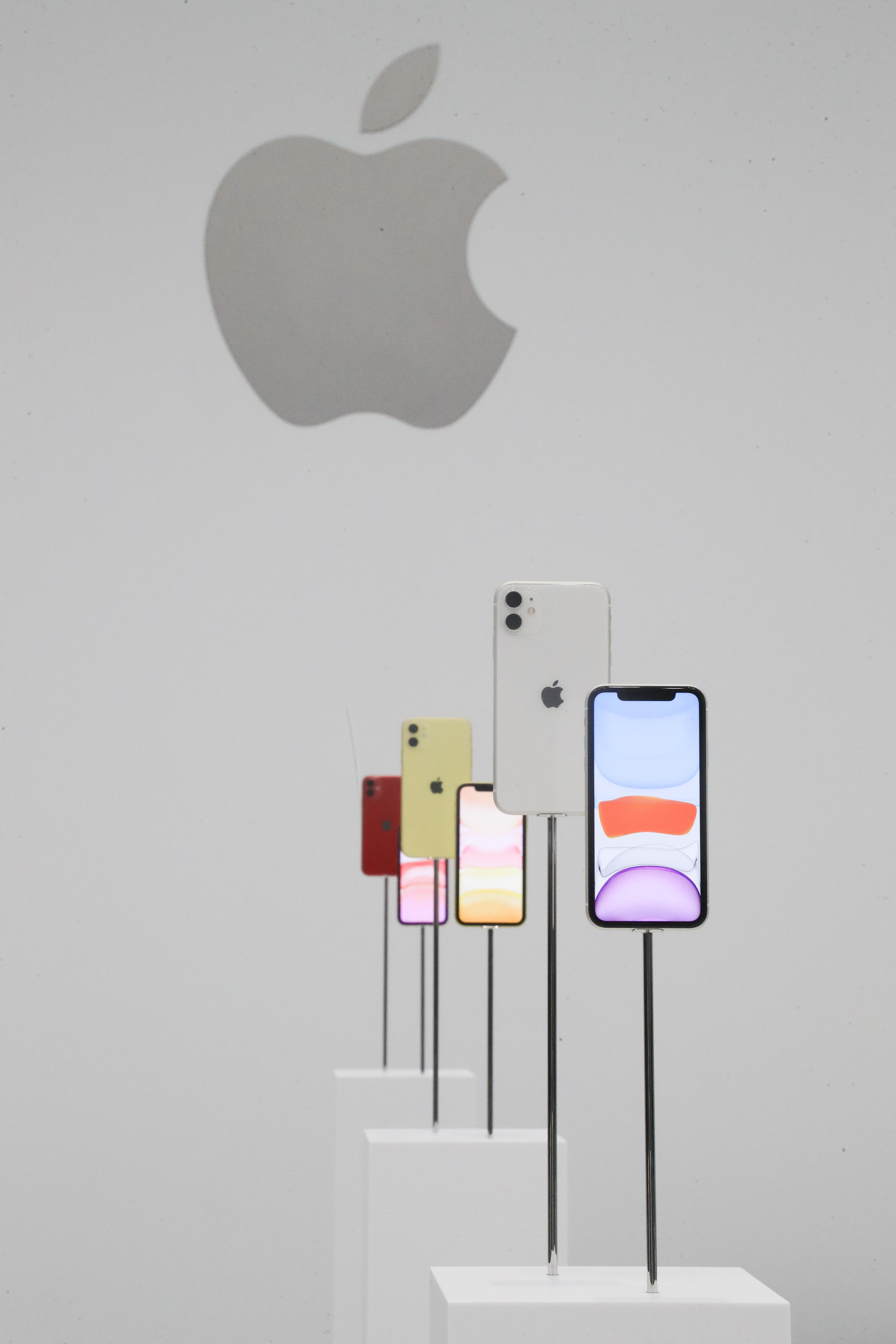 Apple iPhone 11s on display during the hands-on portion of Apple's annual product launch event in Cupertino.