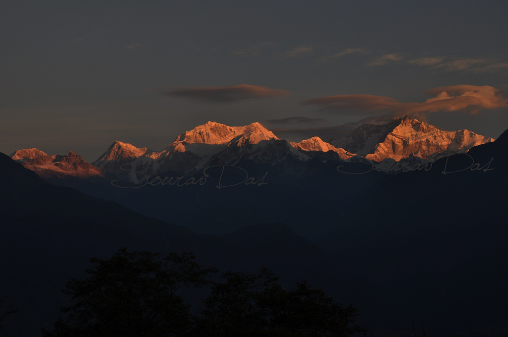 Dawn breaking over Kanchenjunga, as seen from Pelling, Sikkim