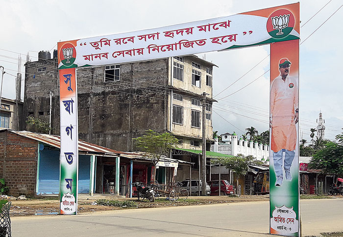 A gate erected in Silchar to welcome Gautam Roy at the BJP office on Wednesday.
