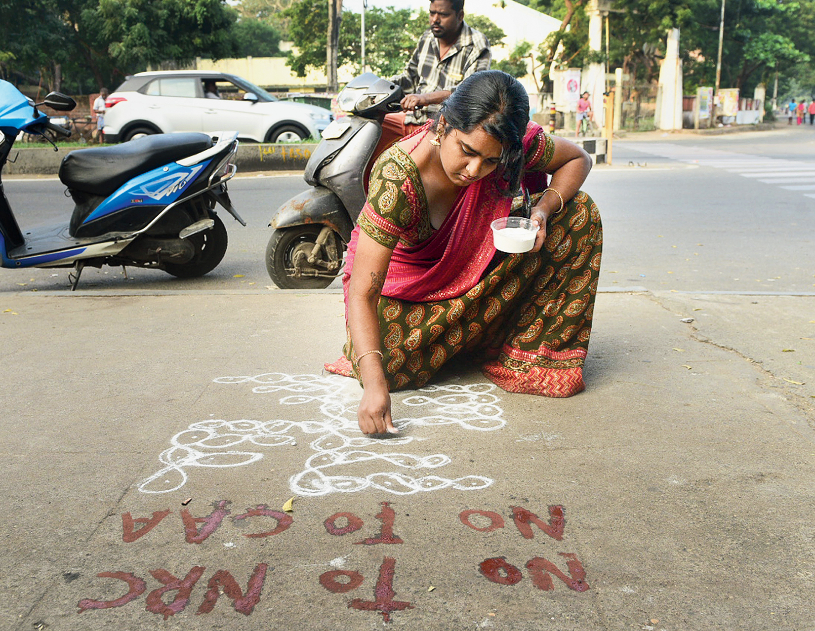 Writing on Chennai street spooks government