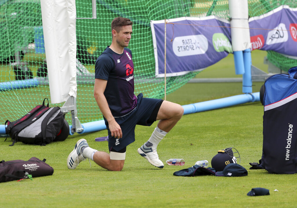 England's Chris Woakes prepares to bat in the nets a training session ahead of the Cricket World Cup final match against New Zealand at Lord's cricket ground in London, England, Saturday, July 13, 2019.