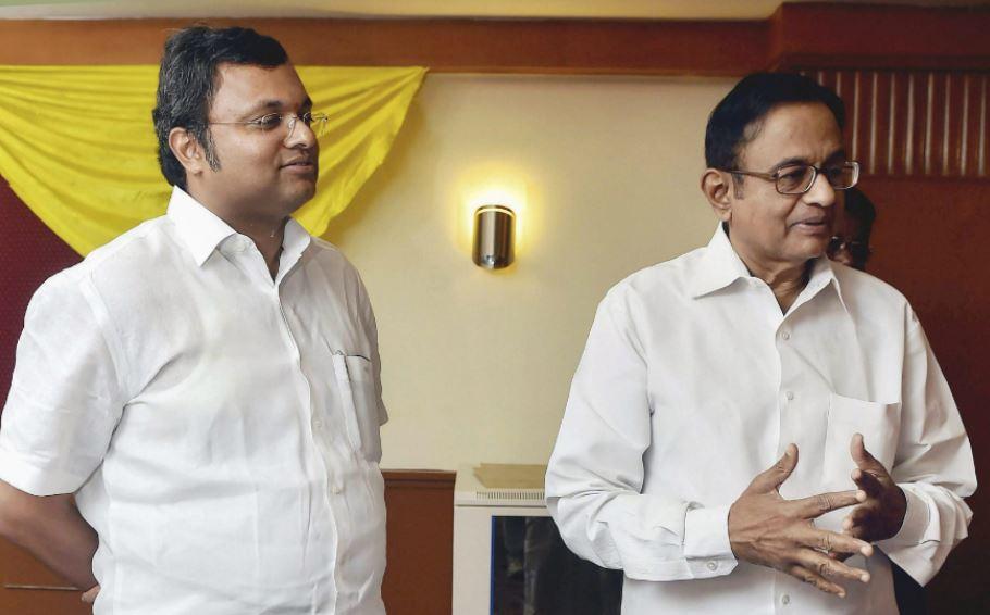 Senior Congress leader P. Chidambaram (right) and his son Karti Chidambaram