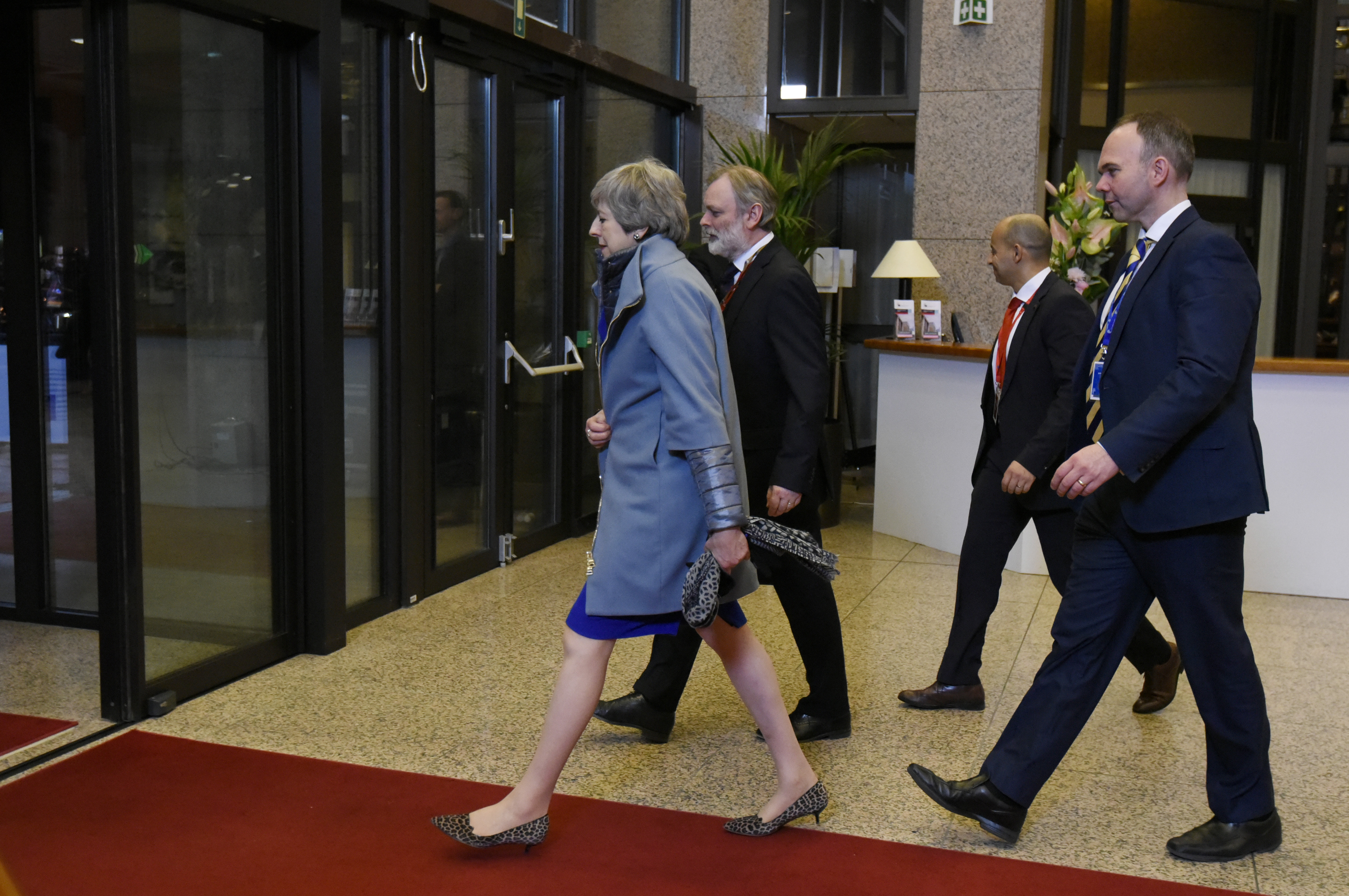 British Prime Minister Theresa May leaves at the conclusion of an EU summit in Brussels on April 11.