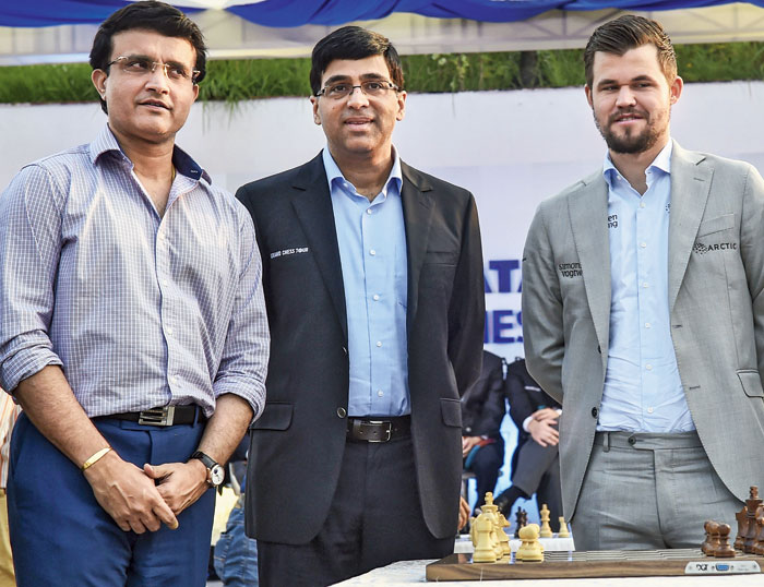 (From left) BCCI president Sourav Ganguly, Viswanathan Anand and reigning world chess champion Magnus Carlsen in the city on Thursday.