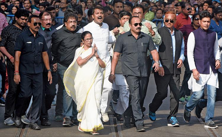 Mamata Banerjee at the rally in Calcutta.