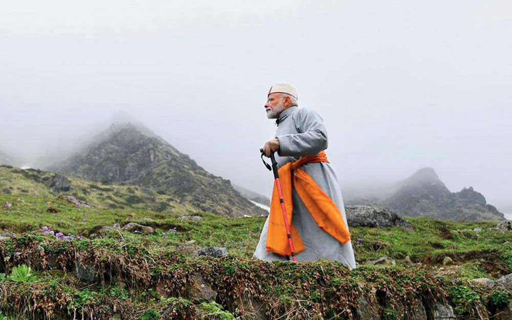 Prime Minister Narendra Modi after paying obeisance at Kedarnath Temple, during his two-day pilgrimage to the Himalayan shrines