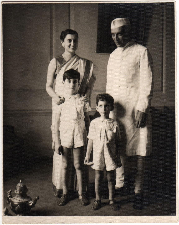 Jawaharlal Nehru with Indira Gandhi, Rajiv Gandhi and Sanjay Gandhi