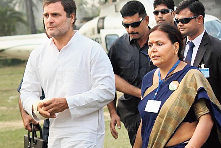 Rahul Gandhi with Congress Mahagama candidate Deepika Pandey Singh in Godda on Thursday.