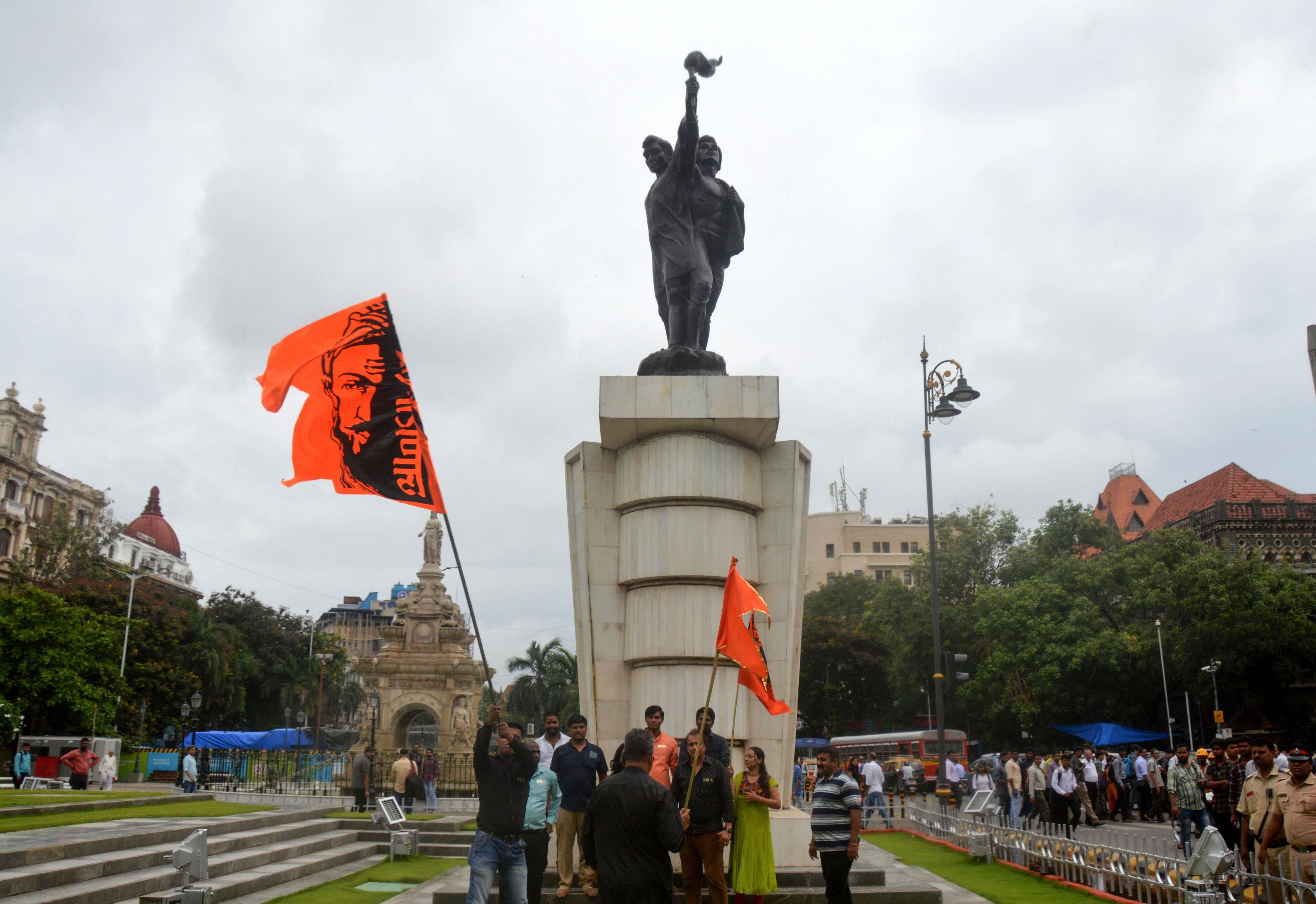 Maratha quota supporters celebrate the verdict of Bombay High Court at Hutatma Chowk in Mumbai on June 27.