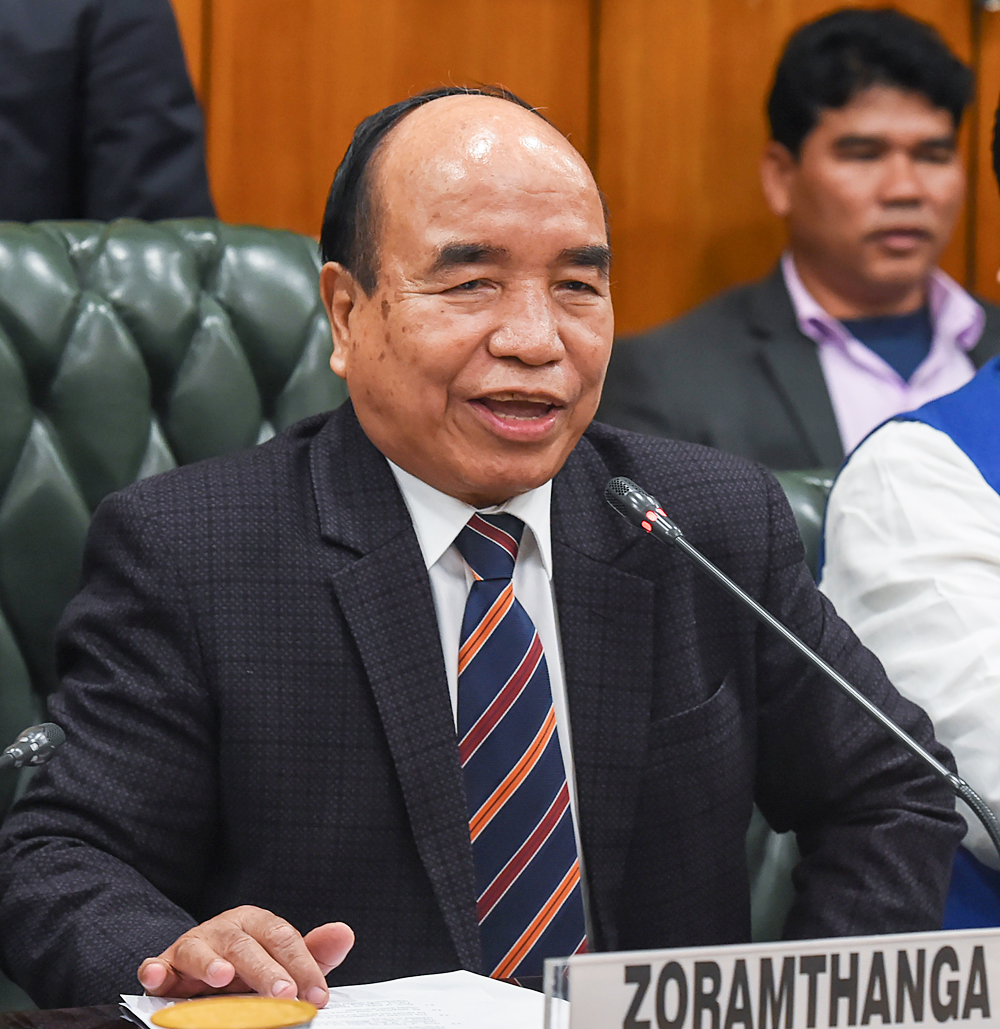 Mizoram CM Zoramthanga speaks during the signing of an agreement for permanent settlement of displaced Bru tribals in Tripura, in New Delhi.