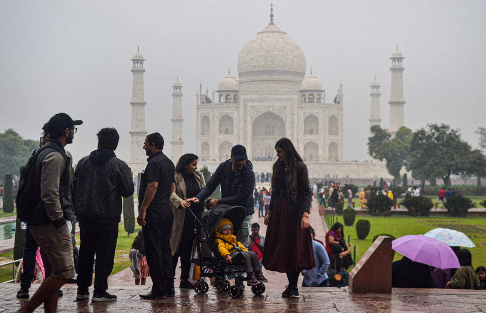 Tourists at Taj Mahal on December 12