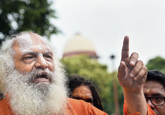Mahant Dharam Das outside the Supreme Court on Friday