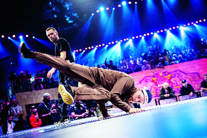 B-boy Menno, a member of Hustle Kidz crew, BC One All Stars and Def Dogz, in the middle of his battle against b-boy Killa Kolya from Kazakhstan