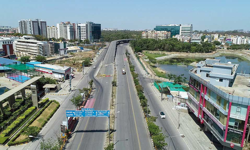 A deserted Outer Ring Road in Bangalore.