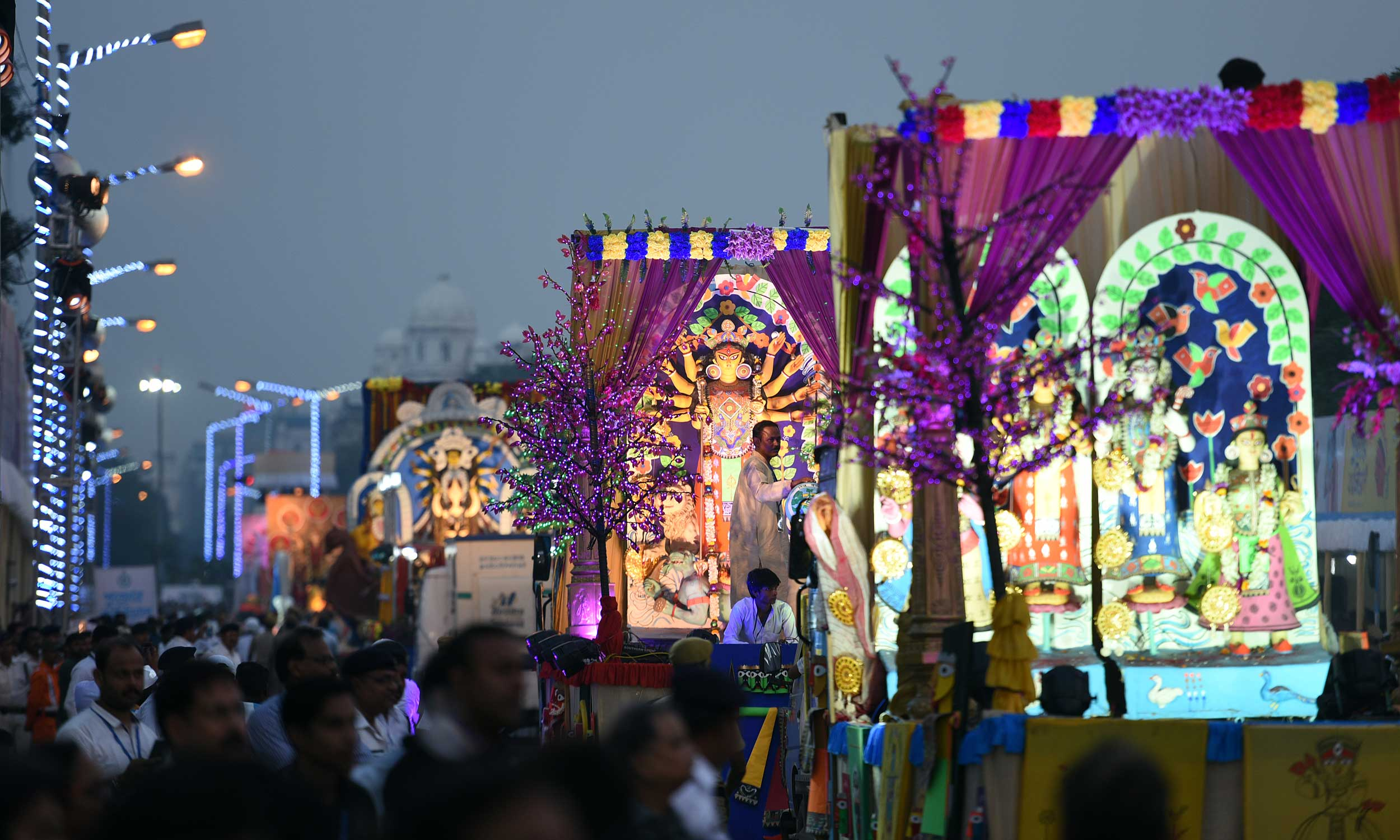 Durga Puja Carnival, Red Road, in Calcutta.