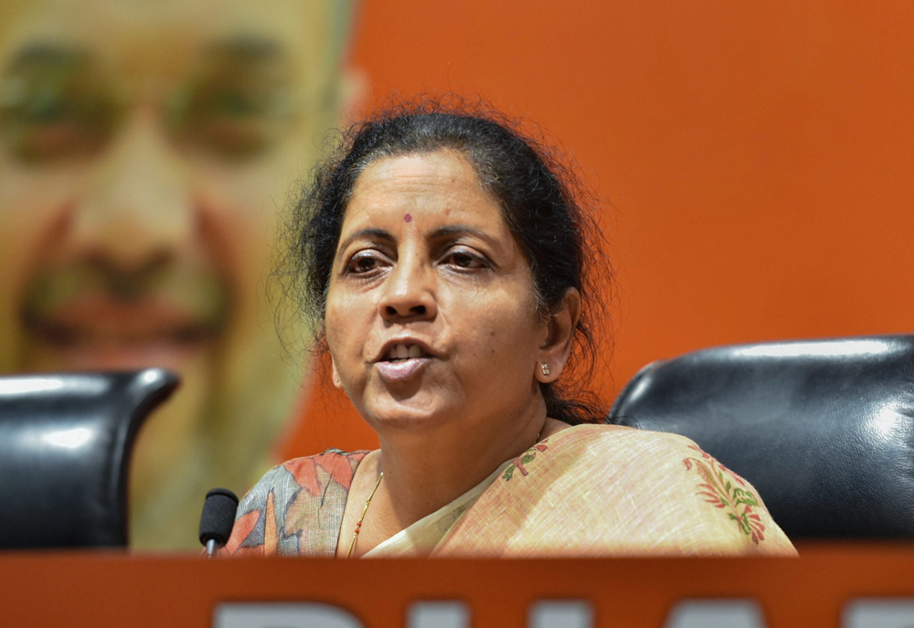 """Defence Minister Nirmala Sitharaman addresses a press conference in New Delhi on Thursday. Nirmala has used words like """"fake"""" to describe the defence veterans' letter."""