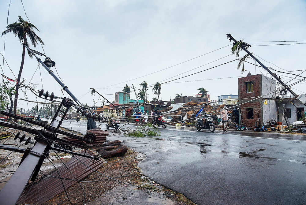 A view of the destruction caused by Cyclone Fani after its landfall in Puri on Friday, May 3, 2019.