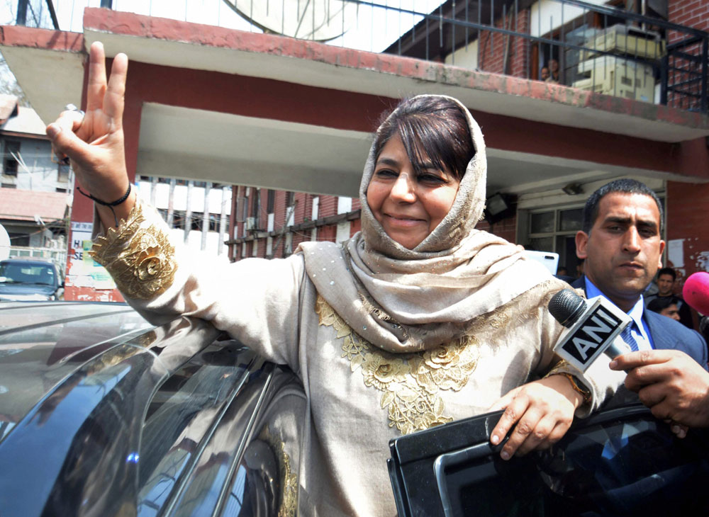 Peoples Democratic Party chief Mehbooba Mufti after filing her nomination papers from Anantnag on Wednesday, April 03, 2019.