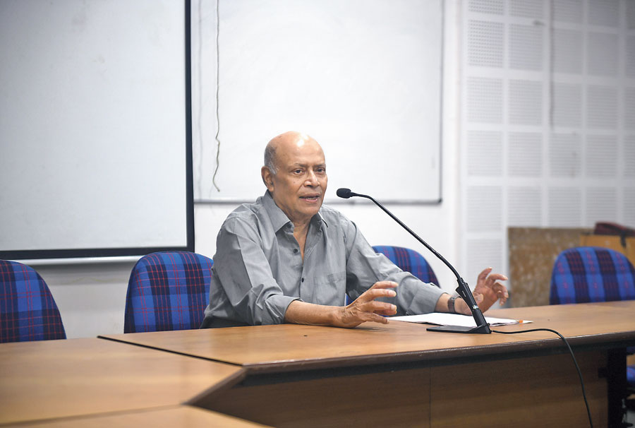Amit Bhaduri delivers a lecture at JU on Tuesday.