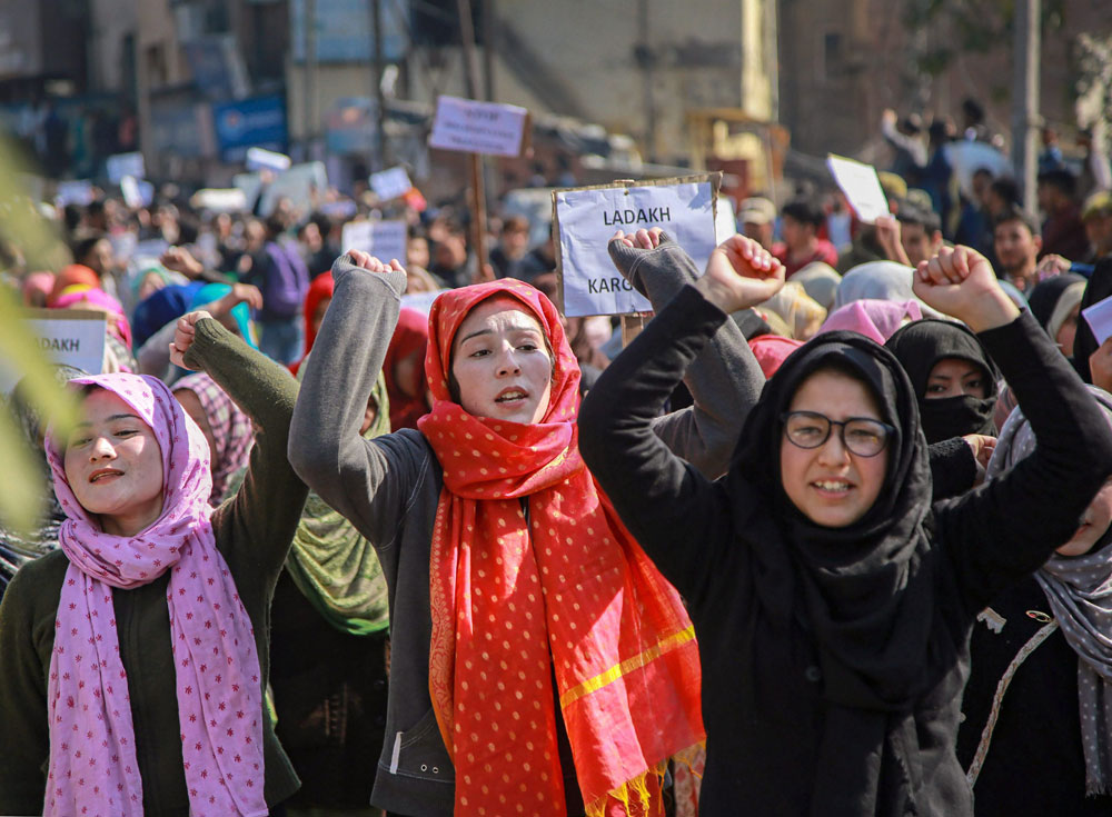 Residents of Kargil district protest against Leh being made the permanent headquarters of the newly created Ladakh division, in Jammu, on Monday, February 11, 2019.