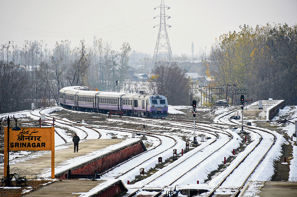 A train arrives at Srinagar station after rail services resumed on Tuesday