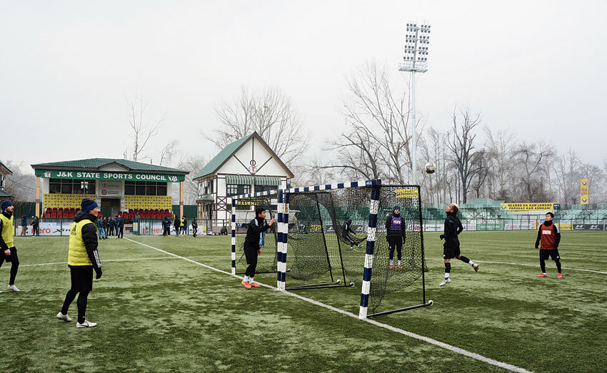 Real Kashmir FC players during training in Srinagar on Saturday