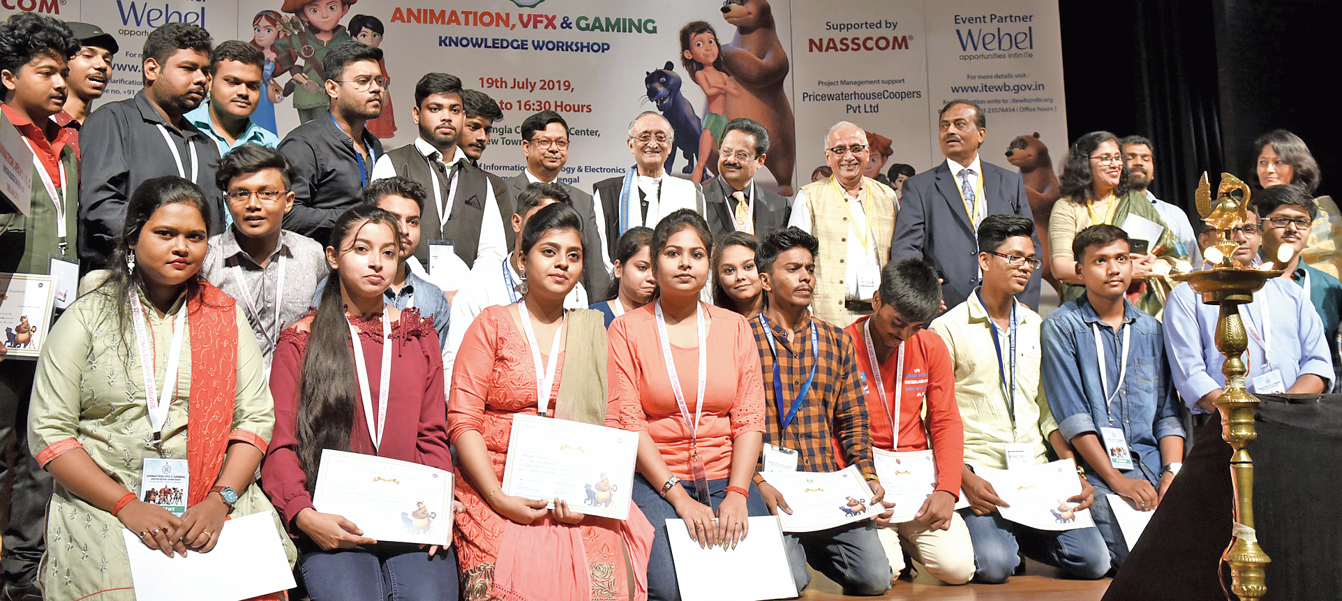 Participants at the workshop on animation, gaming and VFX technologies with the finance and information technology and electronics minister, Amit Mitra (centre), at the Biswa Bangla Convention Centre in New Town on Friday.