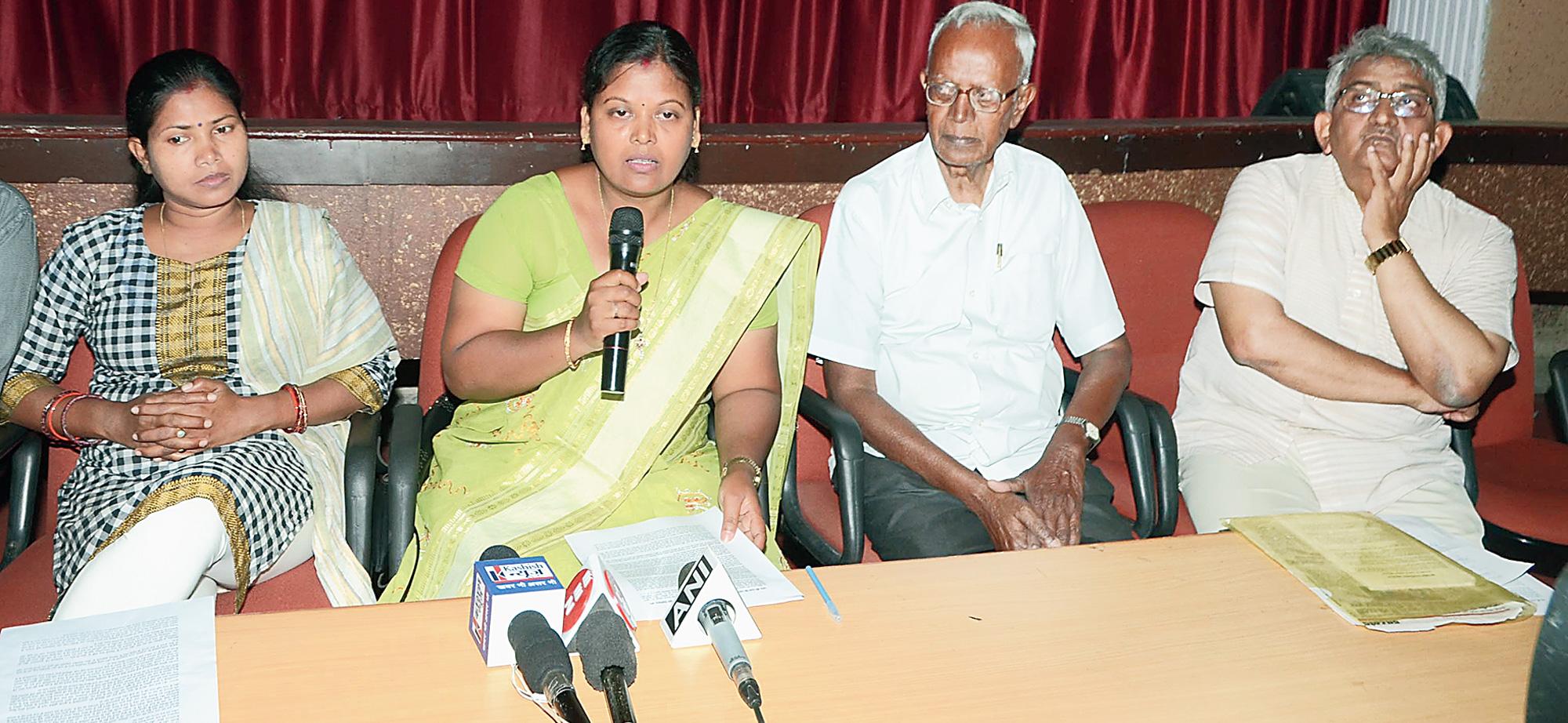 TOUGH TALK: Mahasabha members address the media at XISS auditorium in Ranchi on Thursday.