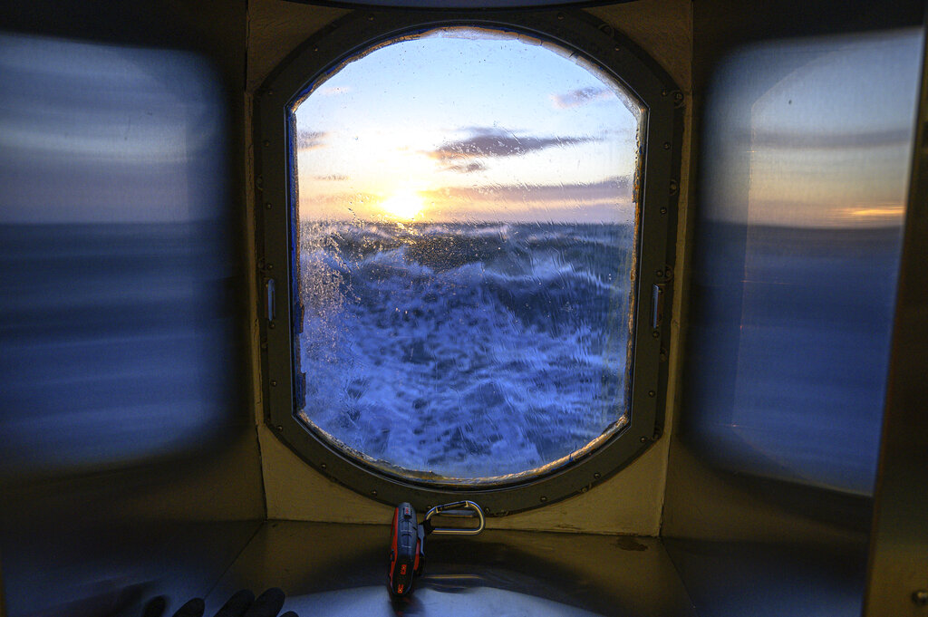 This Nov. 8, 2019, photo provided by John Guillote shows a view from the main lab of the Sikuliaq in the Chukchi Sea.