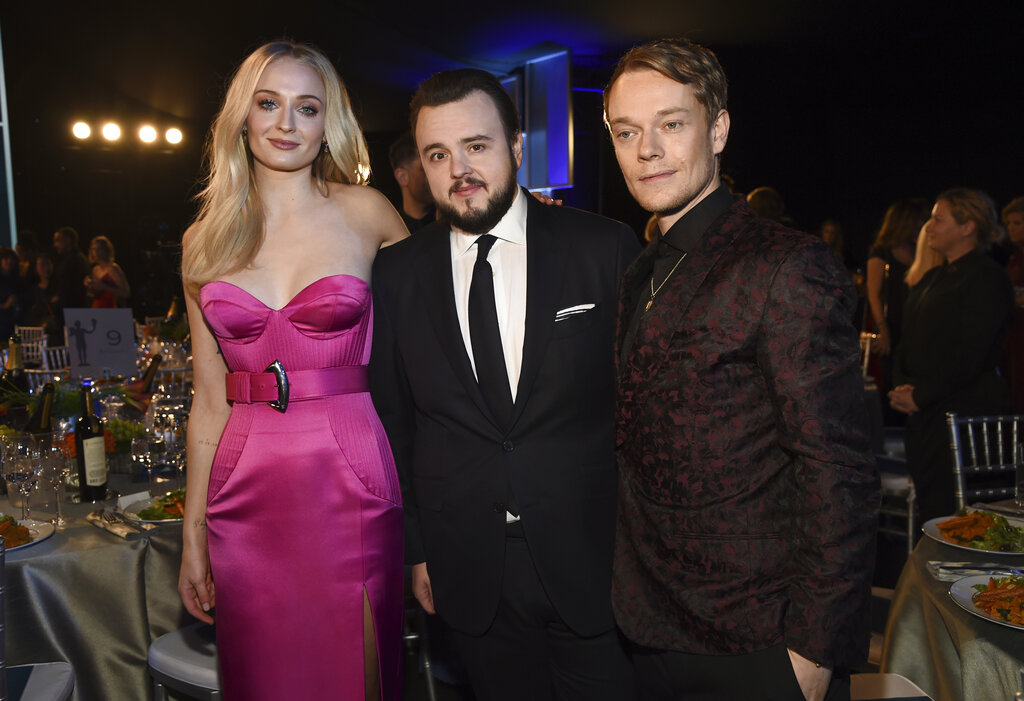 Sophie Turner, from left, John Bradley and Alfie Allen attend the 26th annual Screen Actors Guild Awards at the Shrine Auditorium & Expo Hall on Sunday, January 19, 2020, in Los Angeles.